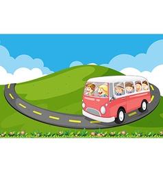 Children riding in a van vector