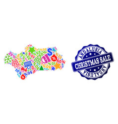 Christmas sale composition of mosaic map of vector