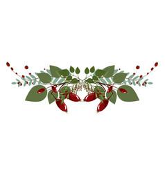 Christmas tree branch decoration frame divider vector