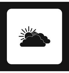 Clouds and sun icon simple style vector image