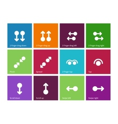 Collection of touch screen gesture icons on color vector image