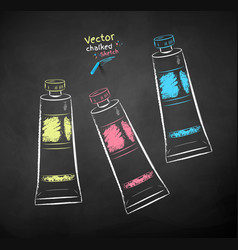 color chalk drawn paint tubes vector image