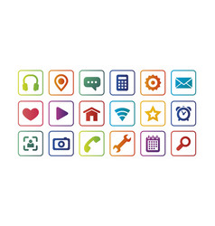 Colored icons for the web full set vector