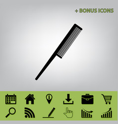 comb sign black icon at gray background vector image vector image