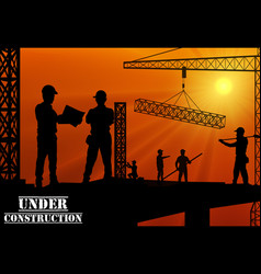Construction worker silhouette on work place vector