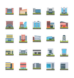 Corporate headquarters flat icons vector
