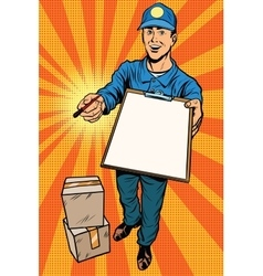 Courier delivery service mail and parcels vector image