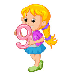 Cute child holding balloon with number nine vector