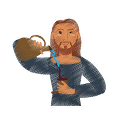Drawing jesus christ miracle water and wine vector
