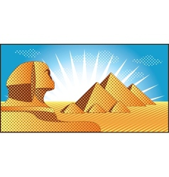 egyptian pyramids at giza and sphinx vector image
