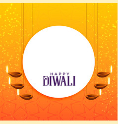 Elegant diwali card design with hanging diya vector