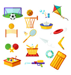 elements collection of summer outdoor recreation vector image