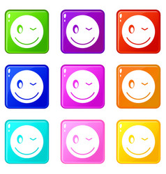 eyewink emoticons 9 set vector image vector image