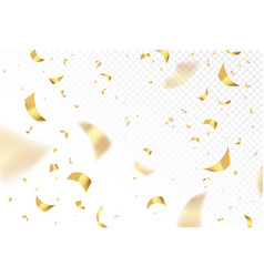 falling shiny golden confetti isolated on vector image