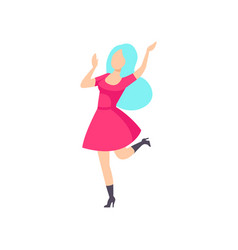 Fashionable girl in pink dress dancing at foam vector