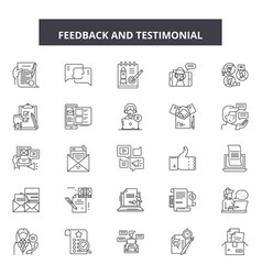 feedback testimonial line icons signs set vector image