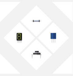 flat icon device set of receptacle resistor vector image