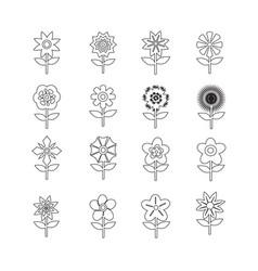 flower icon set for website vector image