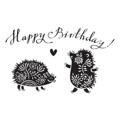 Funny with hedgehogs and vector image
