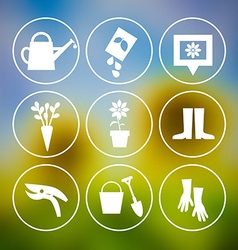 Garden Tools Icons on Blurred Background vector image