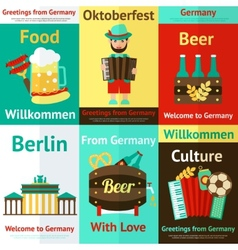 Germany travel retro poster set vector