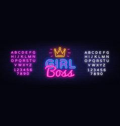 girl boss neon text design template girl vector image
