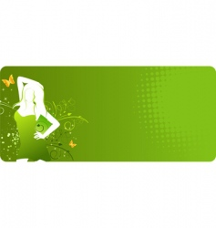 green banner with woman silhouette vector image
