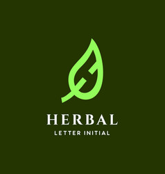 h for herbal logo vector image