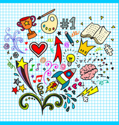 Hand drawn creative doodle art sets on a paper vector