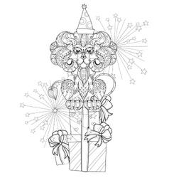 Hand drawn doodle outline lion vector image