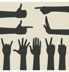 Hand gestures icons set vector