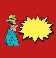 happy businessman greeting raises his hat vector image