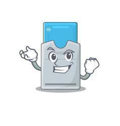 Happy confident successful key card cartoon vector