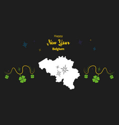 Happy new year theme with map of belgium vector