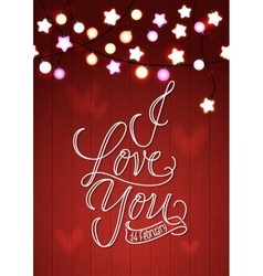 Happy Valentine s Day Wood Card Red Bokeh vector