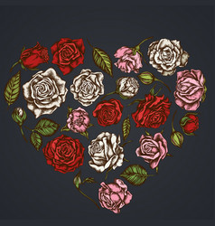 heart floral design on dark background with roses vector image