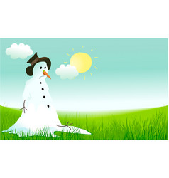 hello spring background with sad snowman vector image