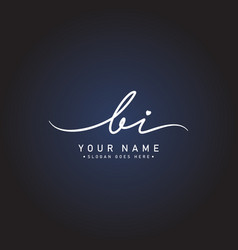 Initial letter bi logo - hand drawn signature logo vector