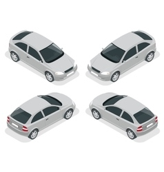 Isometric car Hatchback car Flat 3d high vector