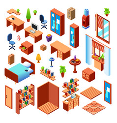 isometric domestic furniture set vector image