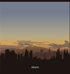 Jakarta skyline with dans sky vector