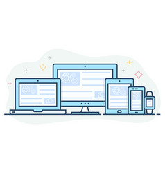 Landing page is open on digital devices vector