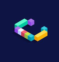 letter c isometric colorful cubes 3d design vector image