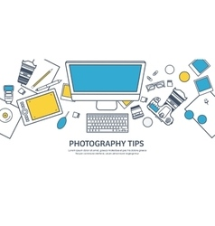 Lined fhotographer equipment on a table vector image