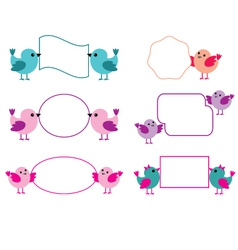 Little birds hold paper forms vector