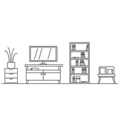 Living room concept background outline style vector