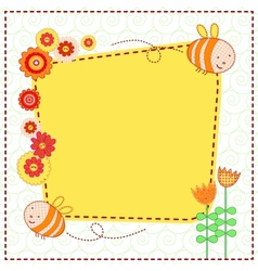 Lovely flowers and the cute bees vector image