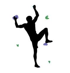Man climbs climbing wall vector