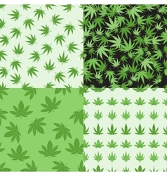 Marijuana background set seamless patterns vector