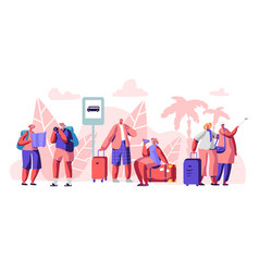 mature tourist characters stand on bus station vector image
